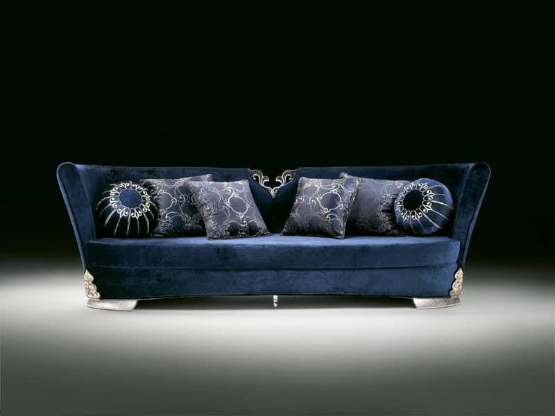 Stylish Sofa Upholstered In Blue Velvet For Luxury Rooms