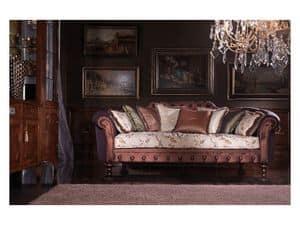 Silvia, Luxury sofa covered in silk, feather filling