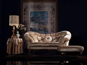 Valeria sofa capitonné, Luxury classic sofa, walnut finish, for living room