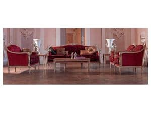 Veronica sofa, Classic sofa, wooden frame, for luxury living rooms