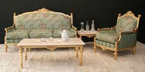 Montecarlo, Classic living room with gold leaf finish