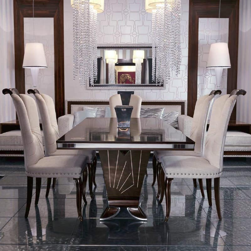 Ebony dining table for luxury living room idfdesign for Luxury dinner table