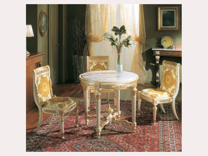 3280 TABLE LUIGI XVI, Round table with faux marble top, in hand-carved wood