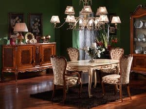 3480 TABLE, Carved oval table, Louis XV style, lacquered finishes