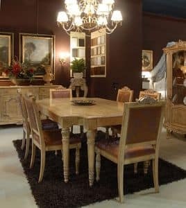 3485 TABLE, Table with upholstered chairs for dining room, luxury classic