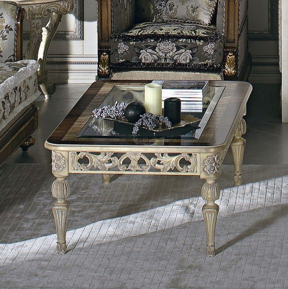 Rectangular Coffee Table In Solid Beechwood Wooden Top With Glass For Rooms In Classic Style