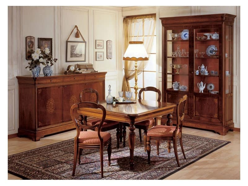 Art. 279 squared table '800 Francese, Dining tables with legs decorated by hand, for classic furnishing