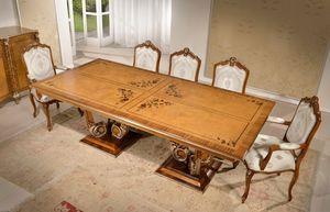 Art. 4000, Rectangular dining table inlaied