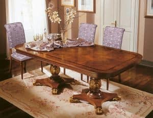 Classic table in carved wood, for Dining Room  IDFdesign