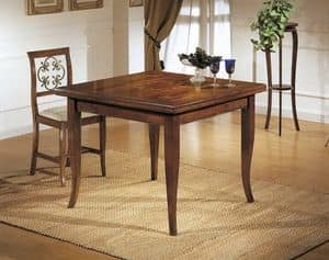 Art. 512 RECTANGULAR TABLE, Dining table, extendable, with inlaid Giglio