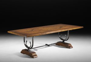 Art. 556-557 table, Refectory table with hand-wrought iron