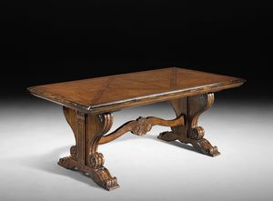 Art. 803 table, Table with extensions, inlaid top