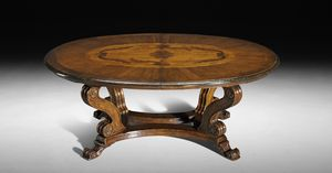Art. 827 table, Renaissance style table, extensible oval top