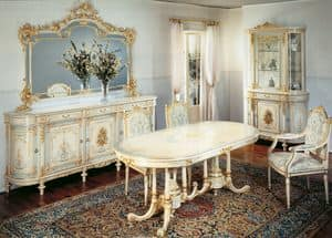 Art. L-1084, Oval classic table in handmade wood, decorations in gold leaf