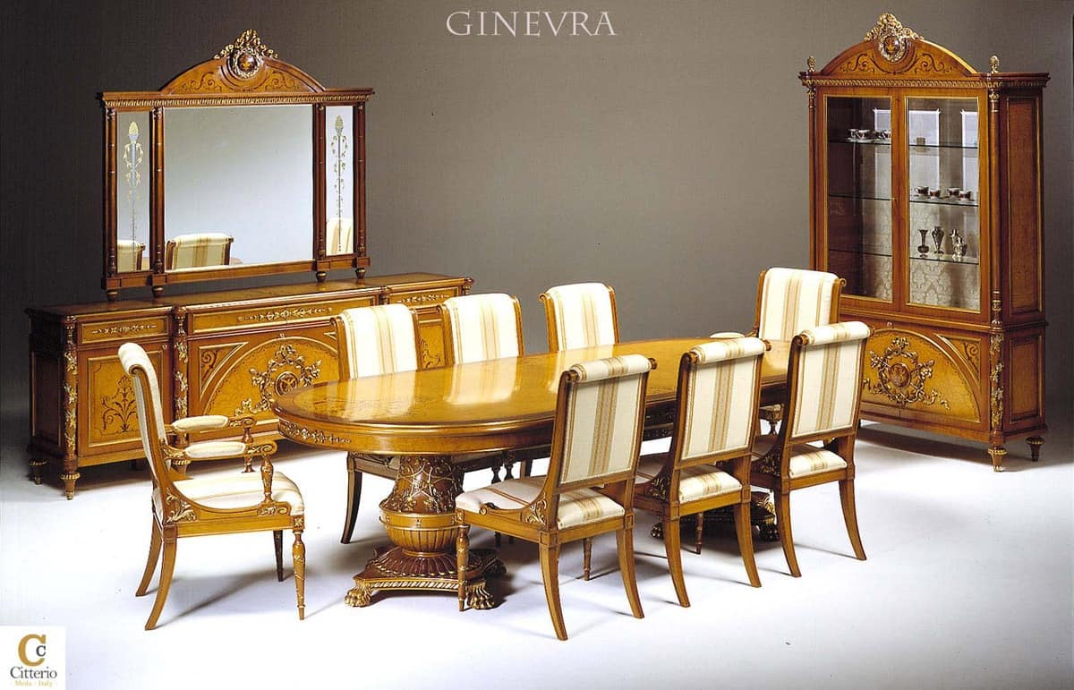 Luxury Classic Office Furniture, Inlaid Bookcase And Desk