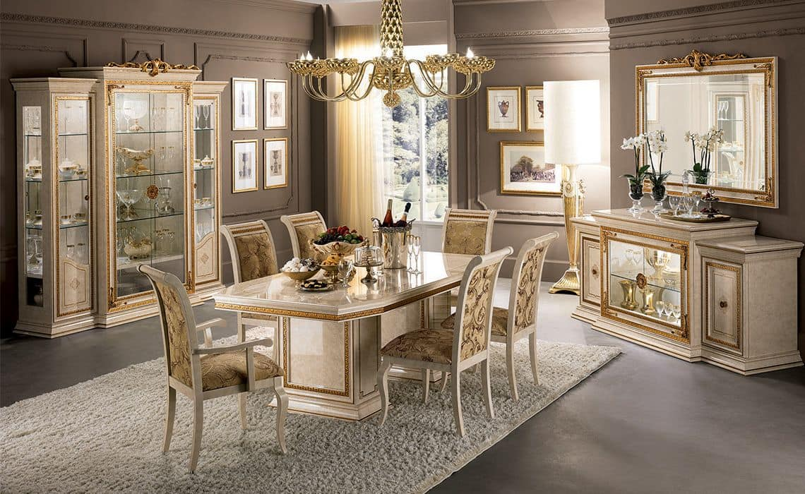 classic luxury dining room with table chairs and showcase idfdesign. Black Bedroom Furniture Sets. Home Design Ideas
