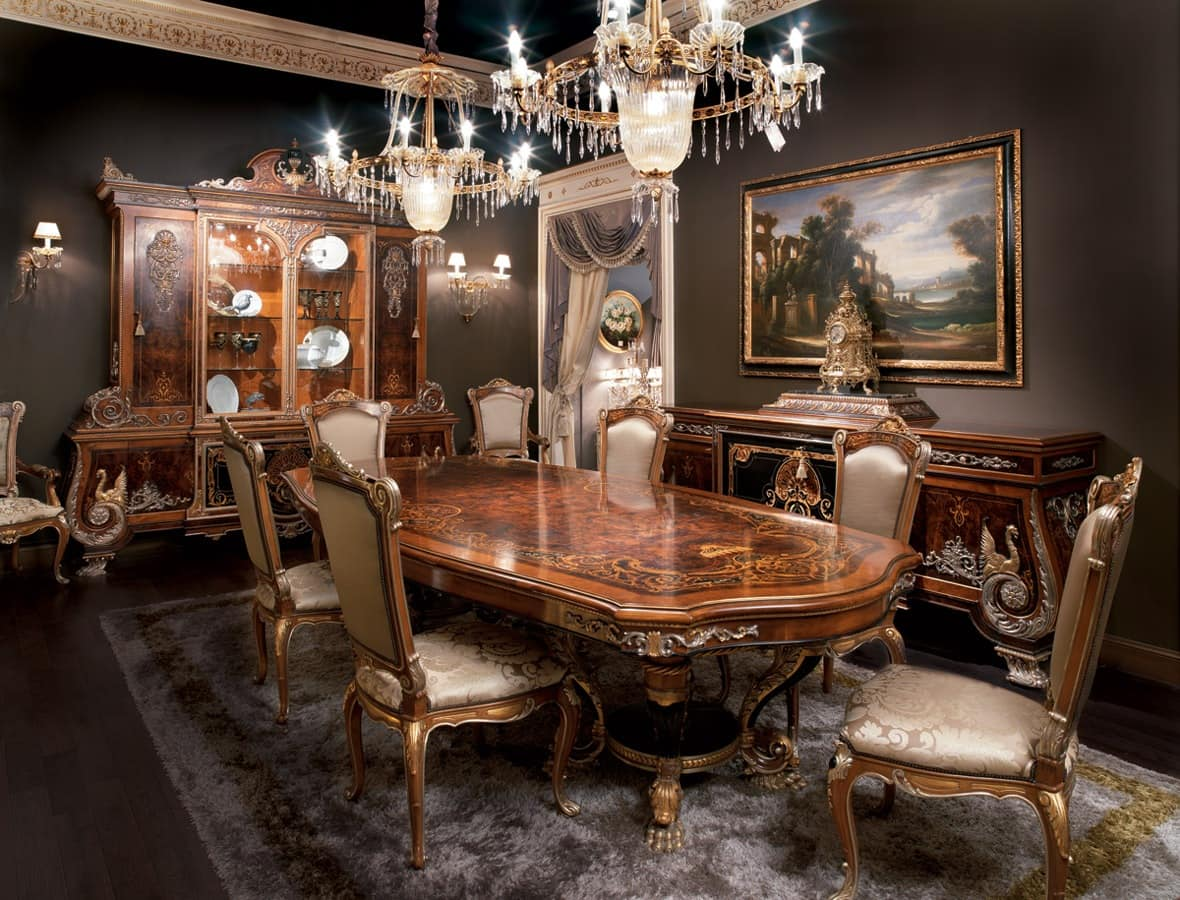 inlaid dining room solid wood table in empire style