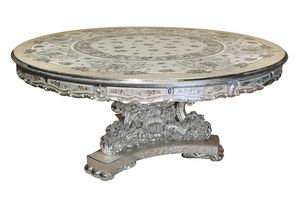 Scent of flowers table, Round table with refined baroque inlays
