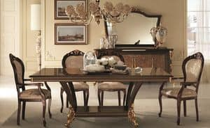 Sinfonia tavolo, Rectangular table with birch burl screen printing