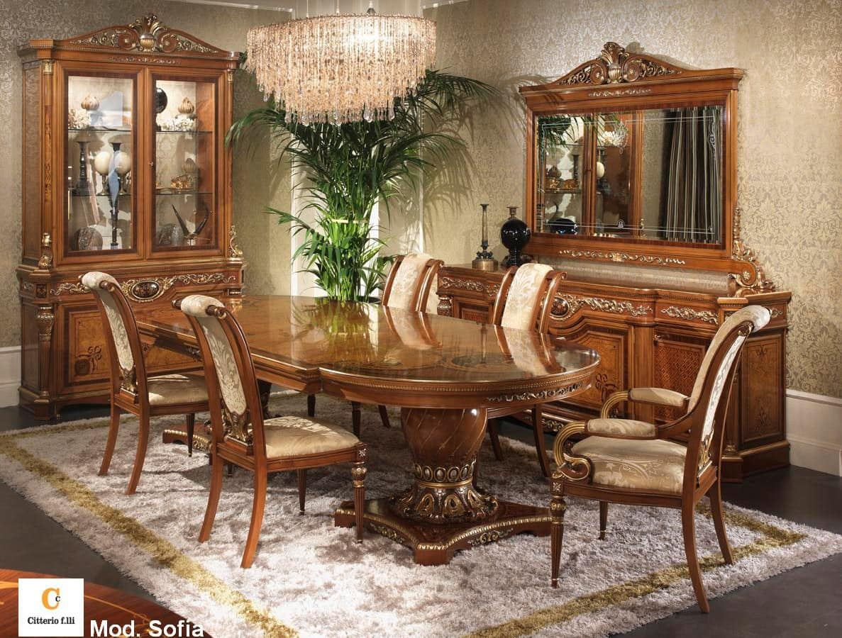 Classic furniture for dining room classic inlaid table for Classic dining room furniture