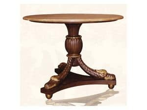 Table art. Croco, Dining table made of wood with top in red marble