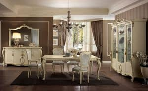 Tiziano table, Rectangular table, legs finely worked, ivory, for dining rooms classic elegant