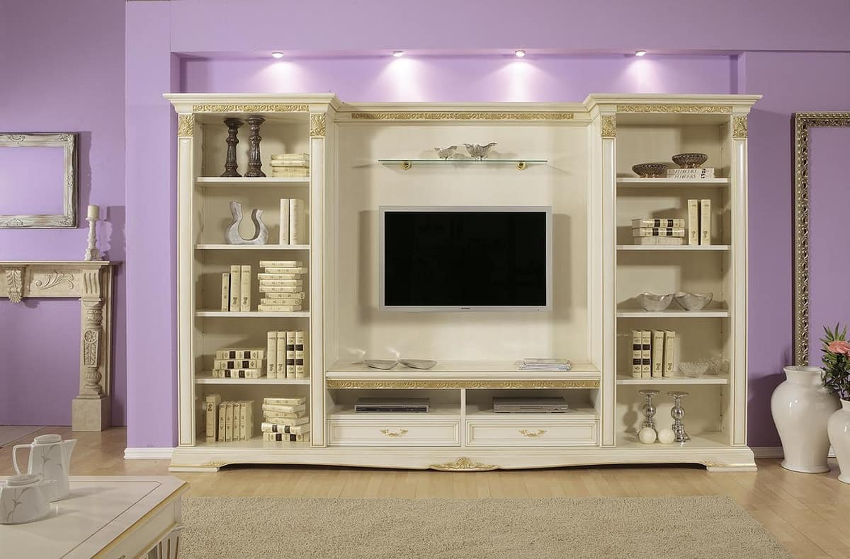 Tv Stand With Shelves Ideal For Luxury Classic Living