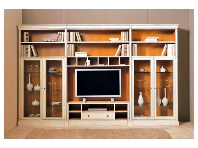 Equipped wall for living rooms made to measure idfdesign for Classic tv cabinet designs for living room