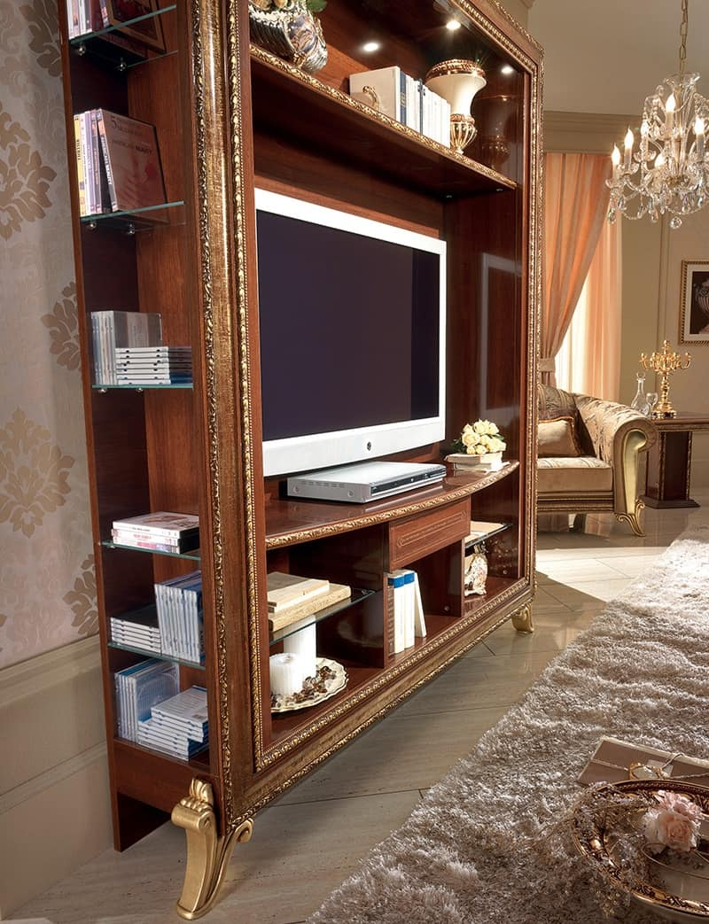 Tv Stand With Bookcase With Golden Decorations Simple And