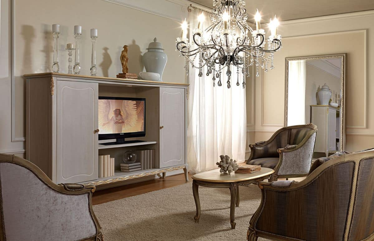 TV cabinet, in a classic style, made of wood decorated by hand ...