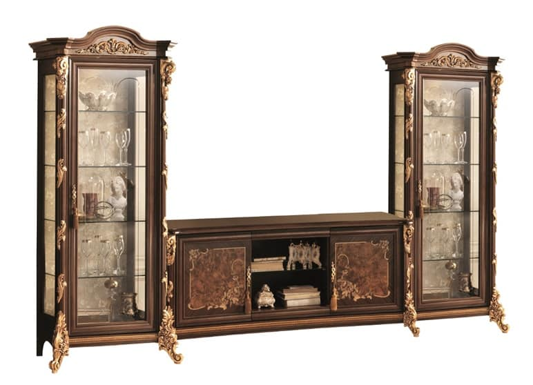 TV stand with display cabinet, with gold leaf decorations | IDFdesign