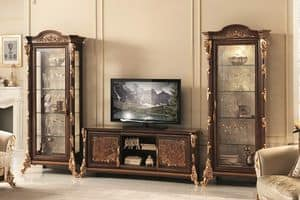 Sinfonia Mobile TV, TV Stand With Display Cabinet, With Gold Leaf  Decorations