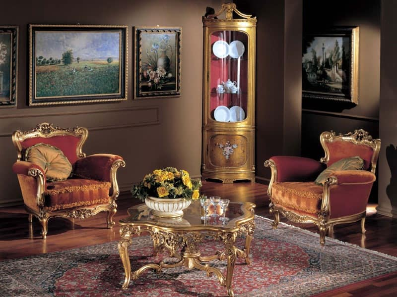 3195 ARMCHAIR BAROCCO, Hand-carved armchair, finish in gold leaf