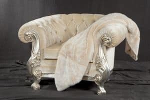 Manchester armchair velvet, Armchair with quilted padding, Baroque style