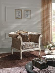 Art. 124 ARMCHAIR, Armchair upholstered in velvet, in solid wood, classic