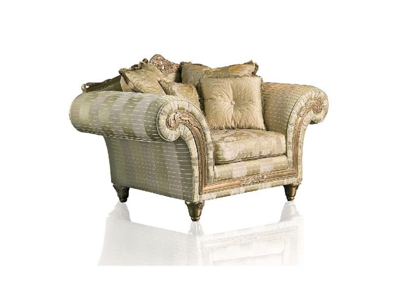 Art. IM 21 Imperial, Armchair with deep seat, elegant removable upholstery