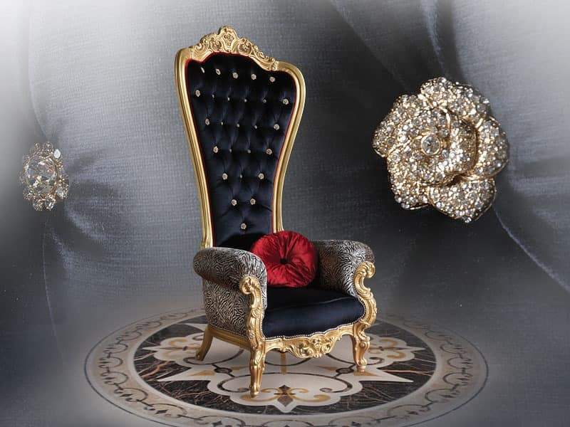 Luxurious enveloping armchair with valuable finishes for Sessel queen
