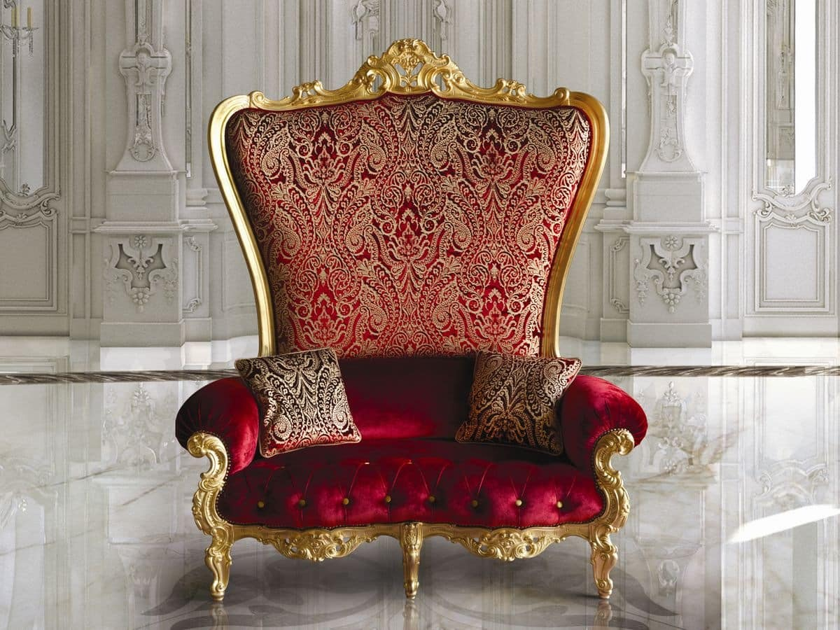 B/120/1 The Throne, Armchair Covered With Elegant Fabrics And Velvets