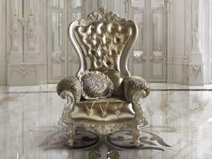 B/140/2 The Throne, Armchair with majestic shapes in hardwood