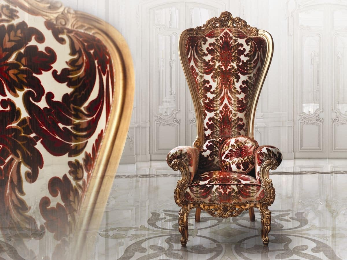 Wooden armchair, with valuable finishes, for clubs