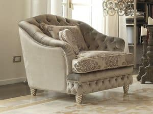 Picture of Denver Capitonn� Armchair, decorated wood armchair