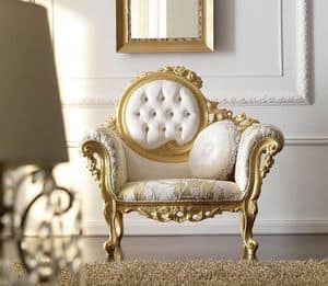 Doroteo 483 armchair, Luxurious hand-carved armchair, tufted backrest upholstered in fabric, gold finish