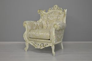Finlandia fabric armchair, Carved armchair, covered with precious fabrics