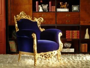Finlandia Gold fabric, Luxury armchair, gold leaf finish, carved by craftsmen