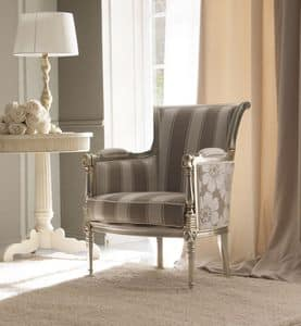 Kelly 404 armchair, Luxury armchair, in beechwood carved by hand, for high-class sitting rooms