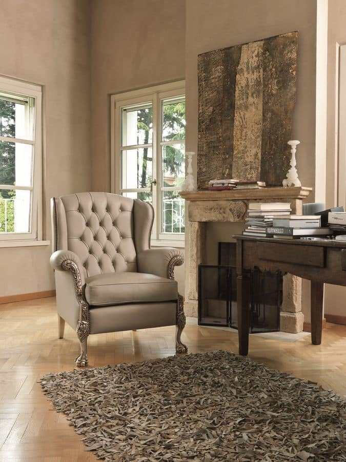 buttoned armchair suitable for classic living room idfdesign