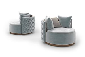 Mademoiselle armchair, Armchair with round base and capitonn� back of the backrest
