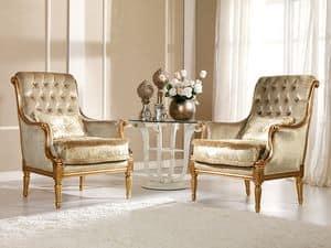 Nives Armchair capitonn�, Armchair in beech, preciously decoration, luxurious residence