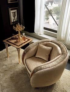 Rossini poltrona, Overstuffed armchair with gold fittings, contemporary classic