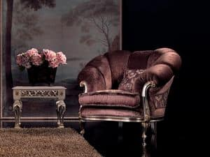 Valeria armchair, Velvet armchair, finish in silver, for luxury living room